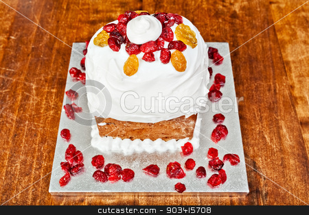 Christmas cake from above stock photo, Christmas creamy cake with candieds from above by Dario Rota