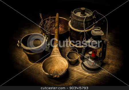 Old kitchen tools stock photo, Old and rusty kitchen tools on a wooden table  by Dario Rota
