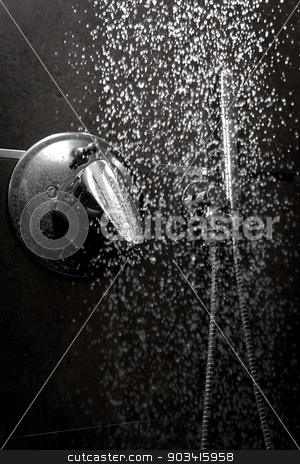 Shower handle water dark stock photo, Shower handle with water falling in the darkness  by Dario Rota