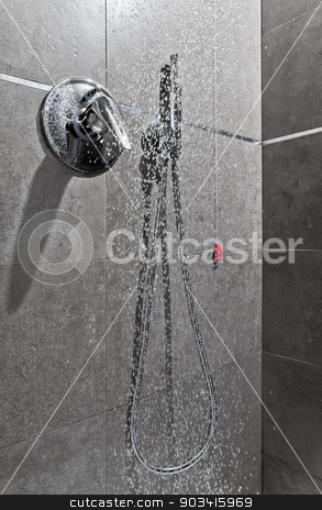 Shower water entire stock photo, Shower handle with water falling  by Dario Rota