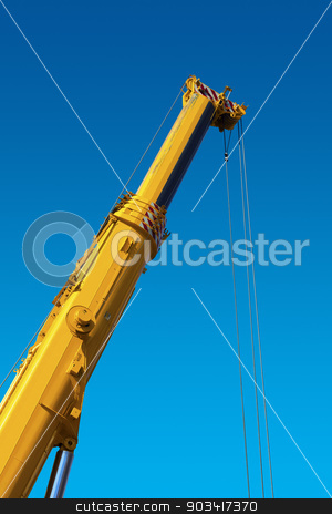 Heavy Hydraulic Crane on Blue Sky stock photo, Big and yellow construction hydraulic crane for heavy lifting on blue sky by catalby
