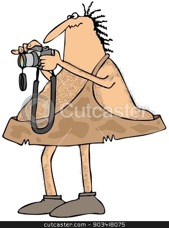 Caveman photographer stock photo, This illustration depicts a caveman photographer holding a camera. by Dennis Cox