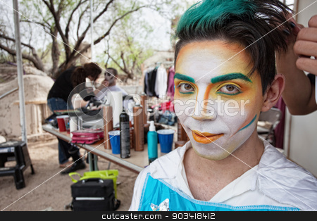 Handsome Male Cirque Actor stock photo, Handsome young Hispanic cirque actor with face makeup by Scott Griessel