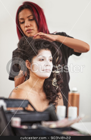 Makeup Artist and Pretty Performer stock photo, Native American makeup artist working beautiful female performer by Scott Griessel