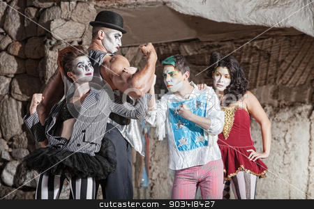Circus Comedy Performers stock photo, Circus comedy drama ensemble performing at outdoor theatre by Scott Griessel
