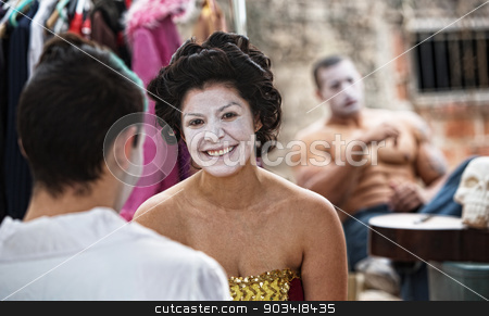 Happy Cirque Clown stock photo, Female cirque clowns in make up sitting outdoors by Scott Griessel