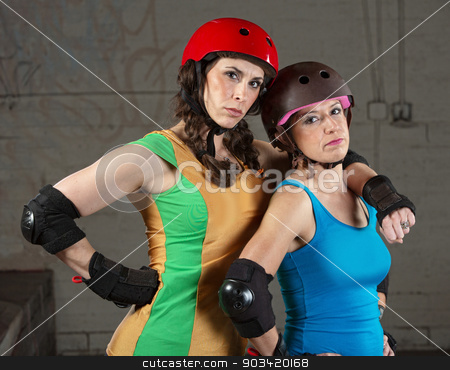 Confident Roller Derby Skating Partners stock photo, Confident female roller derby skating partners standing together by Scott Griessel