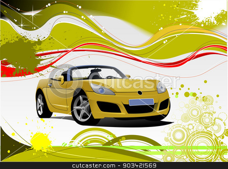 Green and Yellow grunge background with cabriolet image. Vector stock vector clipart, Green and Yellow grunge background with cabriolet image. Vector by Leonid Dorfman