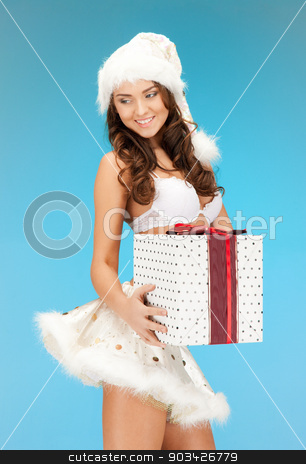 santa helper girl in lingerie with gift box stock photo, picture of cheerful santa helper girl in lingerie with gift box by Syda Productions