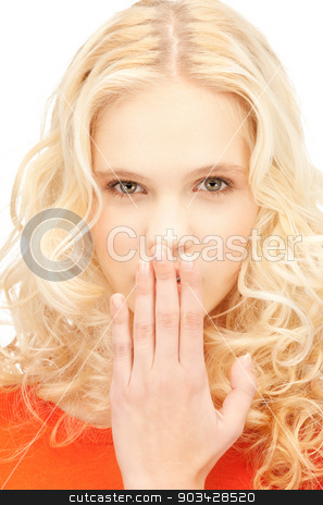 laughing woman stock photo, bright closeup picture of beautiful laughing woman by Syda Productions