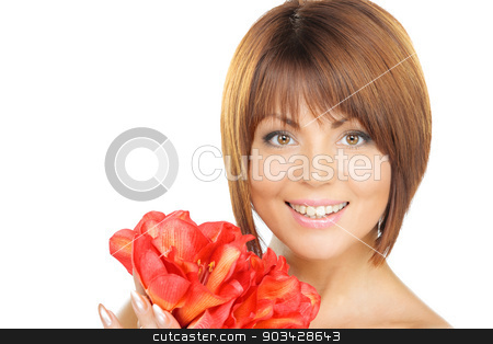 lovely woman with red flowers stock photo, picture of lovely woman with red flowers by Syda Productions