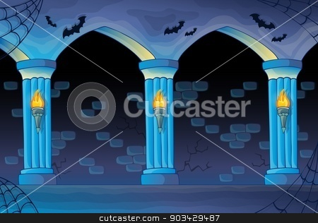 Haunted castle interior background stock vector clipart, Haunted castle interior background - eps10 vector illustration. by Klara Viskova