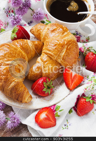 crunchy breakfast stock photo, croissants in a plate, a cup of coffee and strawberry. selective focus by Jevgeni Proshin