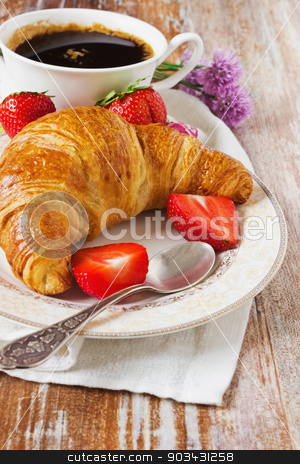 delicious croissant stock photo, delicious croissant, fresh strawberries and a cup of coffee.selective focus by Jevgeni Proshin