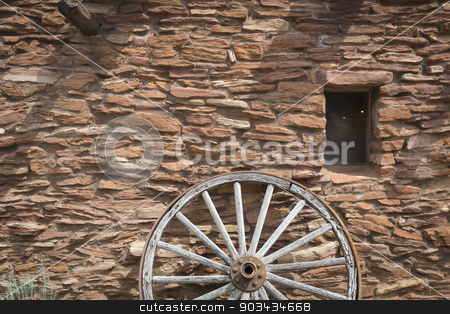 Southwestern Hopi House 1905 Architecture Abstract stock photo, Southwestern Hopi House 1905 Architecture Abstract with Wooden Wagon Wheel and Window. by Andy Dean