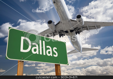 Dallas Green Road Sign and Airplane Above stock photo, Dallas Green Road Sign and Airplane Above with Dramatic Blue Sky and Clouds. by Andy Dean