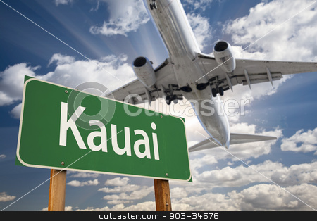Kauai Green Road Sign and Airplane Above stock photo, Kauai Green Road Sign and Airplane Above with Dramatic Blue Sky and Clouds. by Andy Dean