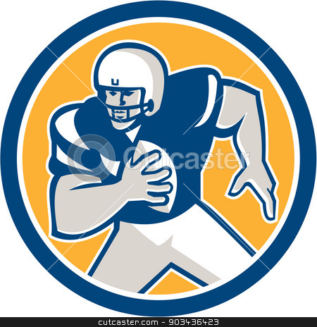 American Football QB Player Running Circle Retro stock vector clipart, Illustration of an american football gridiron quarterback qb player holding ball running viewed from front set inside circle on isolated background done in retro style.  by patrimonio