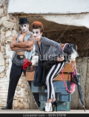 High Heels Circus Performer stock photo, Strange circus performer in high heels with partner by Scott Griessel