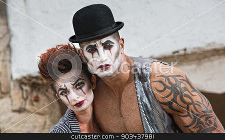 Two Bizarre Comedy Performers stock photo, Strange pair of male and female cirque performers by Scott Griessel