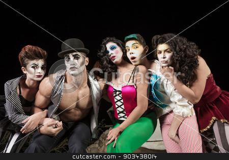 Five Serious Cirque Clowns stock photo, Five serious cirque clowns on theater stage by Scott Griessel