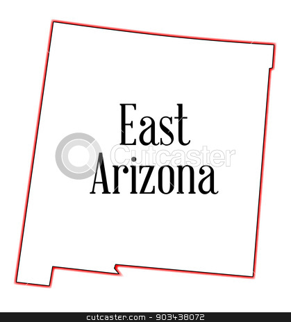 East Arizona stock vector clipart, Outline map of the state of Arizona on a white background by Kotto