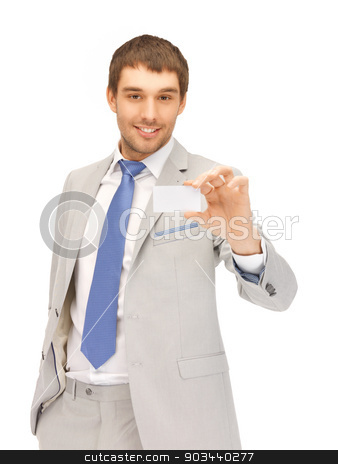 businessman with business card stock photo, bright picture of confident businessman with business card by Syda Productions