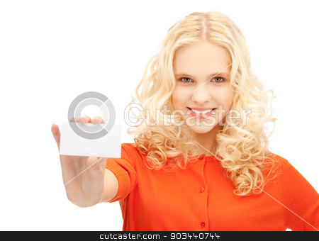 attractive student with business card stock photo, picture of attractive student with business card by Syda Productions