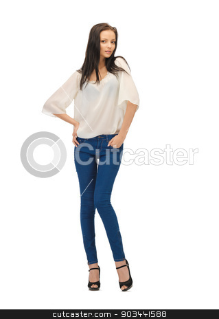 beautiful woman in casual clothes stock photo, picture of beautiful woman in casual clothes on high heels by Syda Productions