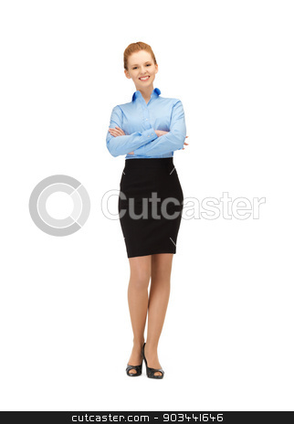 happy and smiling stewardess stock photo, bright picture of happy and smiling stewardess by Syda Productions