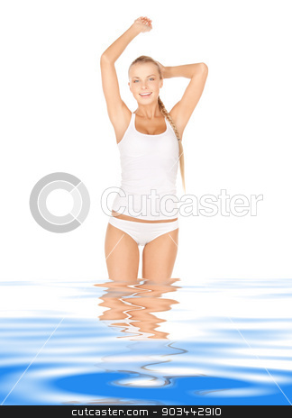beautiful woman in cotton undrewear stock photo, bright picture of beautiful woman in water by Syda Productions