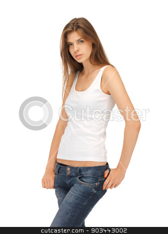 calm and serious woman in blank white t-shirt stock photo, picture of calm and serious woman in blank white t-shirt by Syda Productions