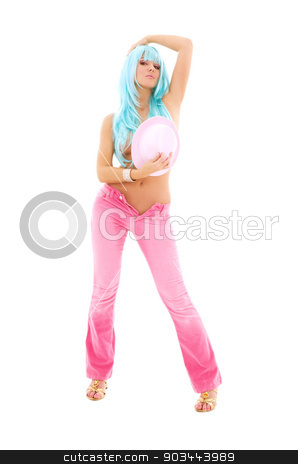 pink stock photo, girl in pink with blue hair over white by Syda Productions