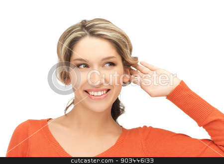 happy woman listening gossip stock photo, bright picture of happy woman listening gossip by Syda Productions