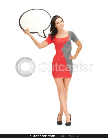 smiling woman with blank text bubble stock photo, picture of smiling woman with blank text bubble by Syda Productions