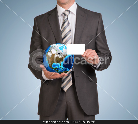 Businessman in suit hold empty card and Earth stock photo, Businessman in suit hold empty card and Earth. Elements of this image are furnished by NASA by cherezoff