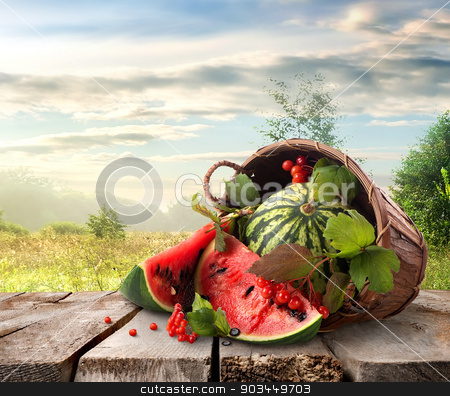 Watermelon and landscape stock photo, Watermelon in a basket and beutiful landscape by Givaga