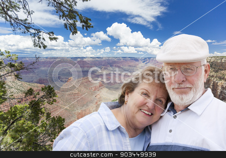 Happy Senior Couple Posing on Edge of The Grand Canyon stock photo, Happy, Hugging Senior Couple Posing on the Edge of The Grand Canyon. by Andy Dean