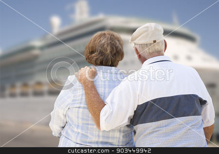Senior Couple On Shore Looking at Cruise Ship stock photo, Senior Couple On Shore Facing and Looking at Docked Cruise Ship. by Andy Dean
