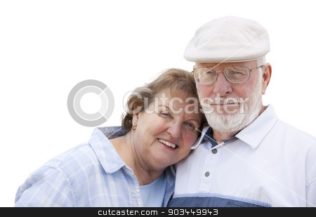 Happy Senior Couple Isolated on White stock photo, Happy Senior Couple Isolated on a White Background. by Andy Dean
