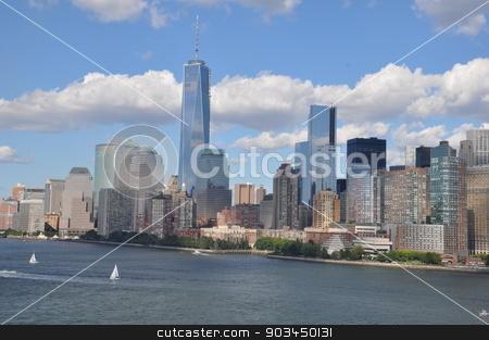 Lower Manhattan Skyline in New York stock photo, Lower Manhattan Skyline with One World Trade Center in New York by Ritu Jethani