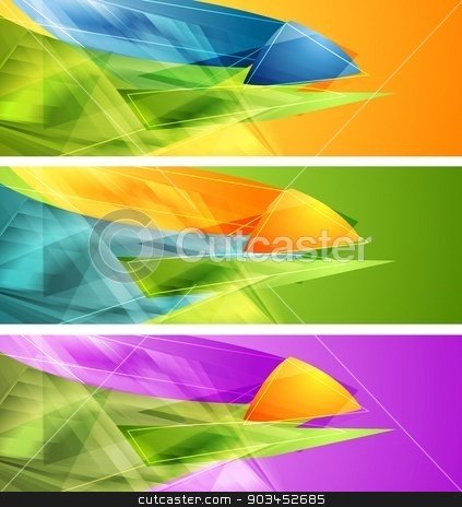 Bright banners with abstract shapes stock vector clipart, Bright banners with abstract shapes. Vector design by saicle