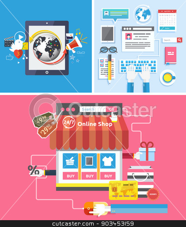 Online shop  social media and seo optimization concept stock vector clipart, Online shopping social media and seo optimization concept item icons in flat design. Mobile phone services and apps icon by robuart