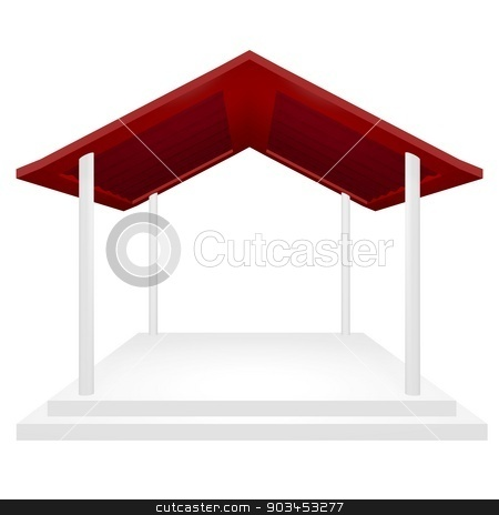 Award Ceremony Presentation Podium stock photo, Award ceremony or presentation podium with red roof, and four pillars. This 3d gazebo or rain shelter type structure can be used for protection and coverage concepts, in addition to a product display or award and exhibition platform.  by Sidharth Thakur