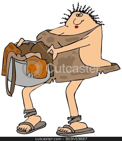 Cavewoman carrying laundry stock photo, This illustration depicts a cavewoman carrying a basket of dirty animal skins. by Dennis Cox