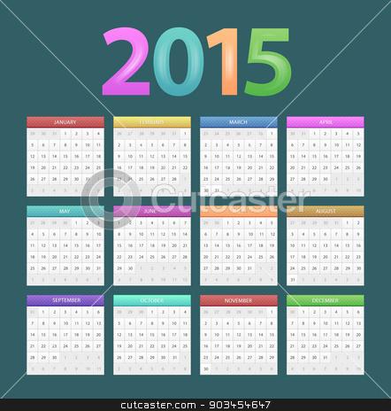 Calendar for 2015 stock vector clipart, Vector illustration of Calendar for 2015 by SonneOn