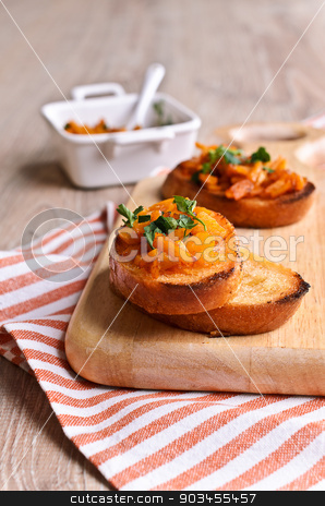 Sandwich with pumpkin stock photo, Cooked with finely chopped pieces of pumpkin are on toasted bread by zia_shusha