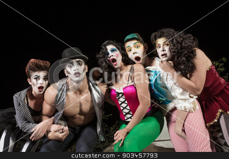 Surprised Comedy Ensemble stock photo, Surprised group of character clowns at theater by Scott Griessel