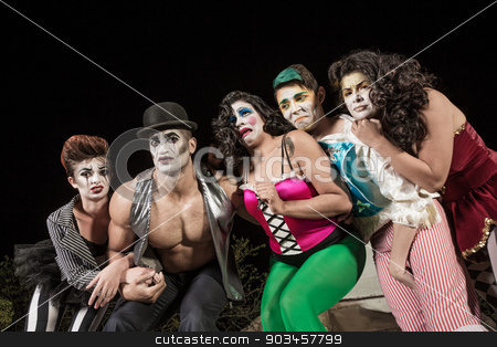Crying Cirque Clowns stock photo, Group of crying cirque clowns on stage by Scott Griessel