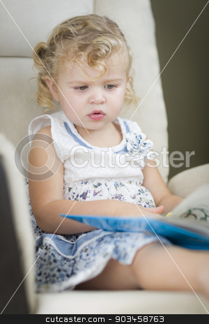 Blonde Haired Blue Eyed Little Girl Reading Her Book stock photo, Adorable Blonde Haired Blue Eyed Little Girl Reading Her Book in the Chair. by Andy Dean